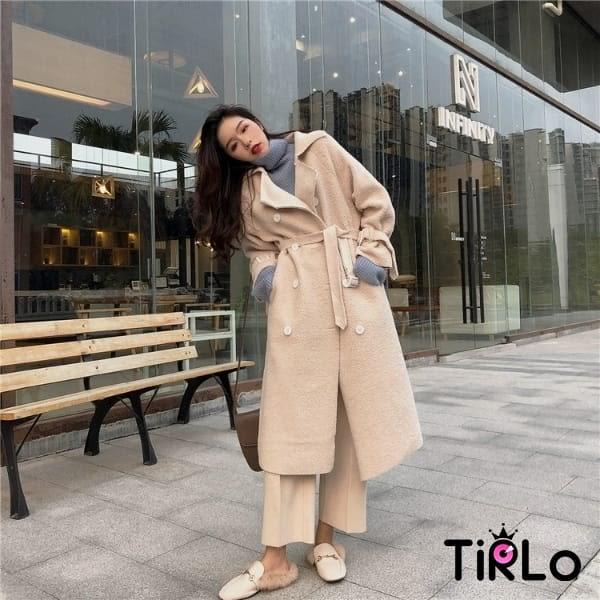 大衣-Tirlo-小羔羊感翻領中長版大衣-兩色(現+追加預計5-7工作天出貨)