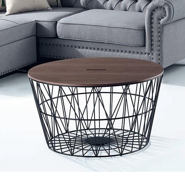 【水晶晶家具/傢俱首選】CX9566-1胡桃黑網80×80cm圓形大茶几