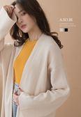 A-SO-BI韓系-領邊背後壓紋坑條毛料針織開襟外套【B10452-13】