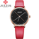 JULIUS 聚利時 凝駐時光長指針設計皮錶帶腕錶-魅力紅/34mm【JA-978E】