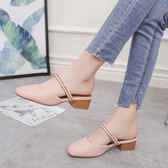 chic溫柔涼鞋女復古2018夏新款百搭包頭半拖鞋女外穿粗跟中跟女鞋