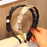 韓國新款水鑚花邊蕾絲超仙細邊鏤空珍珠發箍