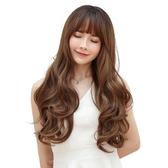 整頂假髮(長髮)-空氣瀏海氣質大波浪捲髮女假髮6色73vs57【巴黎精品】