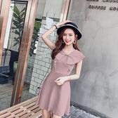 VK旗艦店 韓國風名媛木耳邊娃娃領高腰針織無袖洋裝