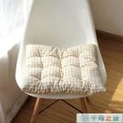 格子日式棉麻加厚坐墊四季辦公室學生汽車座椅墊子家用板凳墊【千尋之旅】