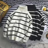 男士高領毛衣新款冬季潮流線衣韓版寬鬆情侶針織衫學生修身款  潮流衣舍