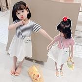 女童連衣裙夏裝2021新款小女孩洋氣拼接條紋T恤裙童裝兒童裙子潮