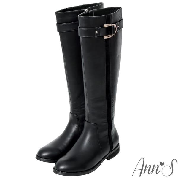 Ann'S馬蹄金扣平底及膝長靴-黑