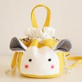 E家人 卡通帆布斜挎水桶包 女生兔子單肩包 抽帶束口手機包