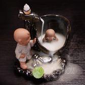 陶瓷倒流香爐創意擺件大號思馬光砸缸 小和尚居室塔沉檀香薰爐座