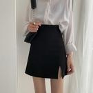黑色高腰開叉bm風半身裙女2021夏新款a字短裙西裝包臀裙子設計感  【端午節特惠】