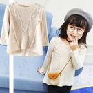 *╮小衣衫S13╭*美型綴蕾絲長袖米色麻花針織毛衣 1051004