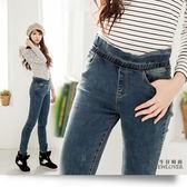 窄管牛仔褲NEWLOVER 牛仔 【166 6703 】  荷葉邊鬆緊褲頭小刮痕激瘦S 號
