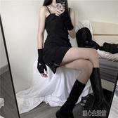 洋裝黑色吊帶洋裝女夏新款女裝性感裙冷淡風修身開叉吊帶小黑裙 暖心生活館