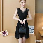 超仙洋氣蕾絲連身裙女夏無袖洋裝新款韓版黑色收腰小黑裙女 AW18233『男神港灣』