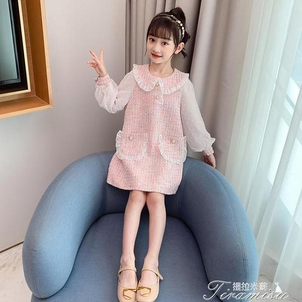 女童洋裝 女童秋裝連衣裙新款洋氣韓版中大兒童小香風公主裙長袖裙子潮 快速出貨