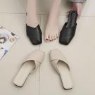 半拖鞋包頭半拖鞋女粗跟時尚新款懶人鞋防滑奶奶鞋薄底外穿一腳蹬潮 【全館免運】