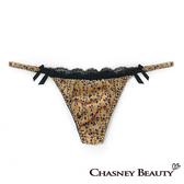 Chasney Beauty-緞面蕾絲S網紗丁褲(黃金)