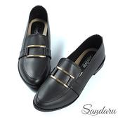 紳士鞋 金屬方釦微尖頭休閒鞋-黑