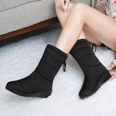 雪地靴女冬季保暖中筒防滑防水靴加絨加厚百搭棉靴【聚寶屋】