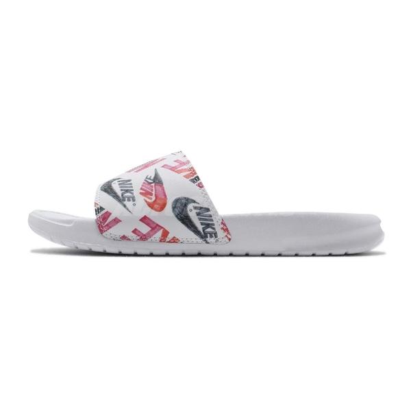 Nike 涼拖鞋 Wmns Benassi JDI Print 白 紅 女鞋 手繪 涼鞋 【ACS】 618919-119