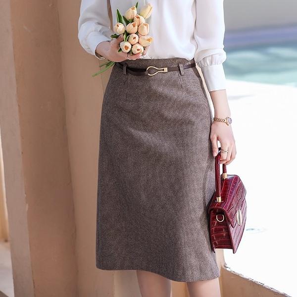 紅棕色千鳥格鉛筆裙(未含腰帶)[21X122-PF]美之札