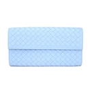 BOTTEGA VENETA 經典編織小羊皮釦式拉鍊長夾(淺藍)