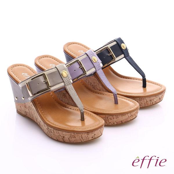 effie 摩登美型 真皮織帶金屬大釦環T字楔型拖鞋  淺紫
