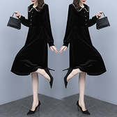 洋裝 中年媽媽裙子法式復古赫本風秋季顯瘦娃娃領金絲絨黑色氣質長袖連身裙N118韓衣裳