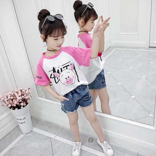 T恤-女童T恤夏裝2020新款半袖卡通體恤衫兒童裝女孩短袖洋氣純棉夏季