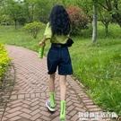 五分牛仔短褲女辣妹夏季2021年新款薄款寬松高腰直筒闊腿中褲子潮 快速出貨