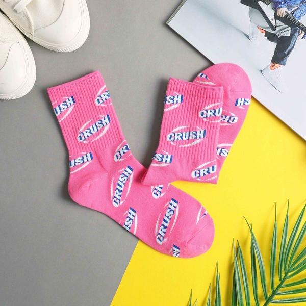【正韓直送】韓國襪子 陰影滿版CRUSH中筒襪 螢光潮流款 韓妞長襪 女襪 男襪 哈囉喬伊 A113
