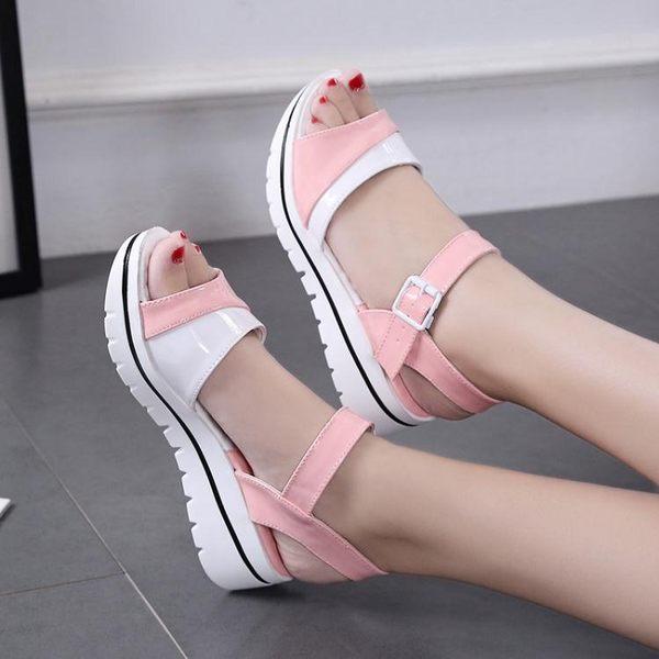 低跟涼鞋春夏季新品拼色厚底女涼鞋低跟休閒時尚百搭學生涼鞋女防滑潮 可然精品