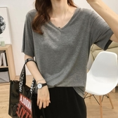 夏季新款涼爽冰絲寬鬆顯瘦V領純色純棉短袖T恤女薄款打底衫上衣潮