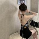 一套 復古小吊帶 辣妹 網紅背心女 夏季 外穿 性感掛脖 短款 美背 打底 上衣 短褲