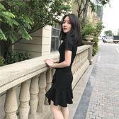 雙11限時優惠-洋裝 冷淡風復古極簡裙子學生不規則荷葉邊顯瘦連身裙赫本小黑裙女夏季