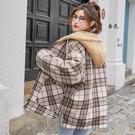 冬季加厚上衣 時尚外套夾克外套 修身格子棉服女生外套 羊羔毛棉襖女士外套 韓版外套羽絨外套