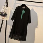 大碼網紅女夏裝新款胖妹妹顯瘦洋氣200斤寬鬆遮肚雪紡連身裙減齡