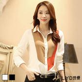 襯衫韓國雪紡拼接撞色OL顯瘦女長袖高檔襯衫LIYO理優E735004