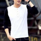LROZTN男士長袖T恤純色V領體恤衫韓版修身春秋打底衫潮男裝  良品鋪子