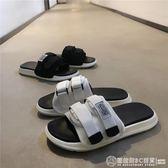 19新款拖鞋男潮夏魔術貼室外穿韓版潮流情侶一字拖沙灘鞋防滑涼拖  圖拉斯3C百貨
