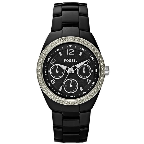 FOSSIL 晶鑽王女三眼陶瓷腕錶-CE1043