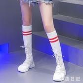 彈力襪子鞋女平底2019春秋新款長筒超火中筒白色運動襪靴 XN7866『小美日記』