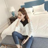襯衫女短袖夏季韓版寬鬆百搭個性露肩中袖襯衣假兩件上衣    芊惠衣屋