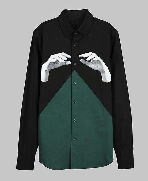 【摩達客】韓國進口EXO合作設計品牌DBSW Color Composer組色者黑綠時尚純棉男士修身長袖襯衫12815098011