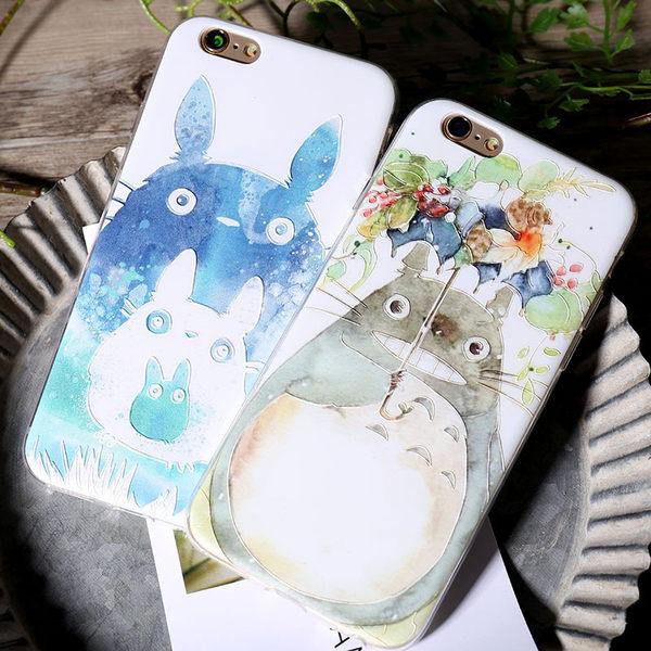 iPhoneX手機殼 可掛繩 水彩花傘+大中小龍貓 蘋果iPhone8X/iPhone7/i6/5s