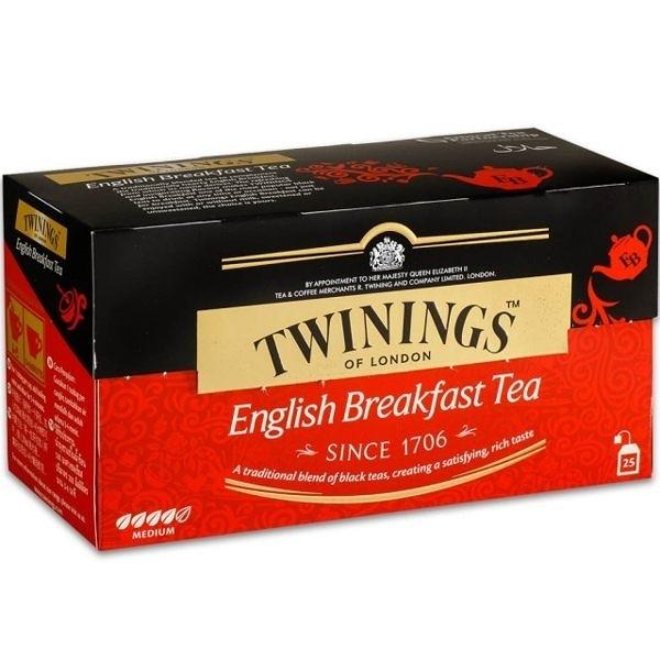 英國唐寧茶 TWININGS-英倫早餐茶包 ENGLISH BREAKFASE TEA 2g*25/盒--【良鎂咖啡】
