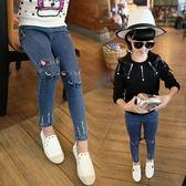牛仔褲 兒童牛仔褲女韓版女童洋氣褲子寶寶長褲鉛筆褲3-9歲春秋【小天使】