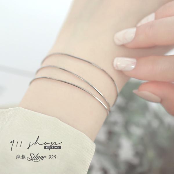 Sequin.925純銀極簡超細蛇骨鍊層次手鍊手環【sa115】911 SHOP