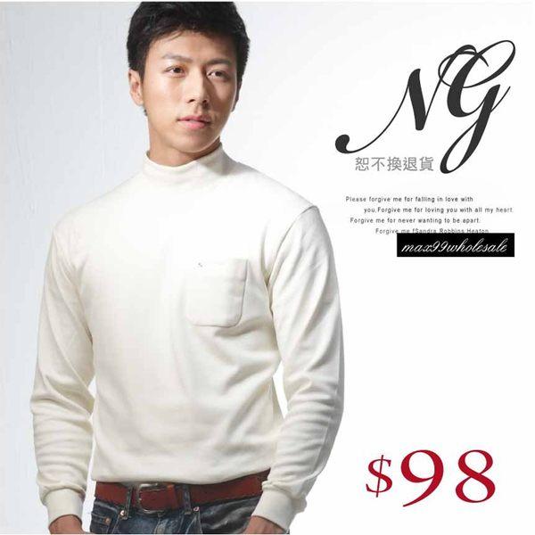 【大盤大】(N5-628) NG無法退換 米白 工作服 男 女 發熱衣 保暖衣 輕刷毛 內搭圓領 套頭 棉衫 高領
